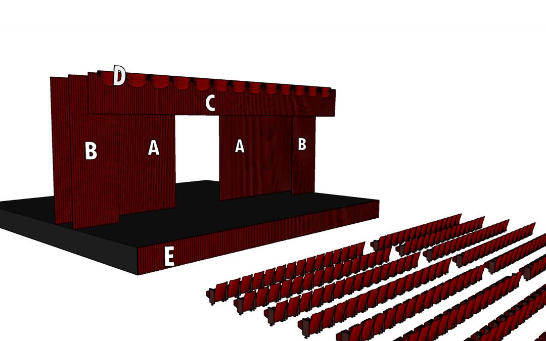 Cortinatges i telons d'una embocadura de teatre